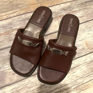 Minnetonka Leather And Silver Embellished Slides 6